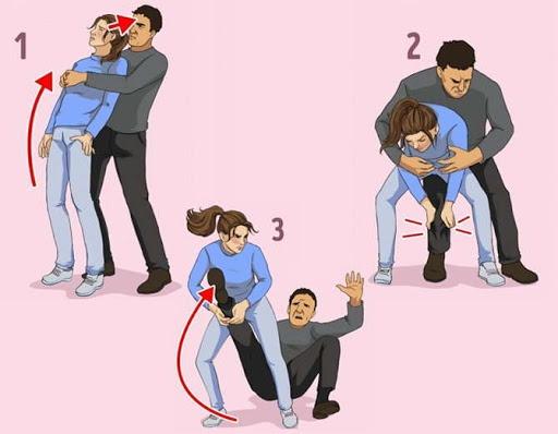 tự vệ khi bị ôm từ phía sau